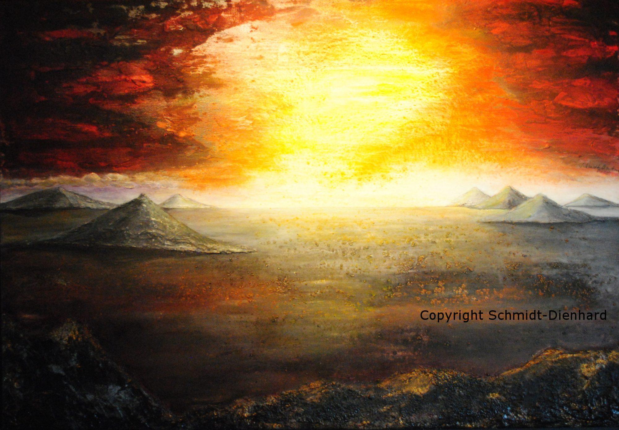 Feuermorgen - Lanzarote - Bild l026 - 130 x 90 cm 2018 - Acrylmalerei